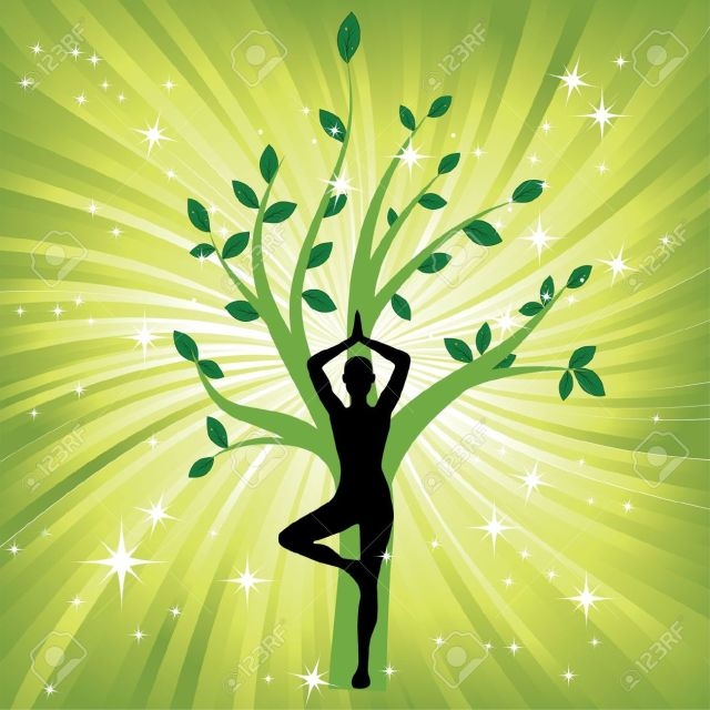 12829617-Woman-in-yoga-tree-asana-sport-on-wave-background-Man-silhouette-pose-in-front-of-leaves-Energy-medi-Stock-Vector